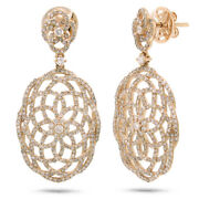 2.18 Ct 14k Rose Gold Natural Round Diamond Open Lace Dangle Drop Oval Earrings