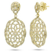 2.18ct 14k Yellow Gold Natural Round Diamond Open Lace Dangle Drop Oval Earrings