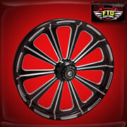 2008-2020 Harley Black Contrast 23 Inch Front Wheel Floating Rotors Redemption