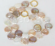 Luster 17 15mm Coin Fastener White Pink Purple Freshwater Pearls Necklace V924