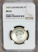 1929 Luxembourg 5 Francs Charlotte Silver Coin - Ngc Ms 63 - Km 38
