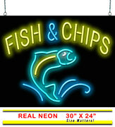 Fish And Chips Neon Sign   Jantec   30 X 24   Seafood Restaurant Crab Lobster