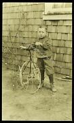 Antique Real Photo Postcard Rppc Child With High Wheeler Tricycle