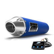 Hmf Performance Slip On Exhaust Blue Polished Euro End Cap Optimizer Grizzly 550