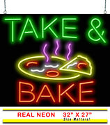 Take And Bake Neon Sign | Jantec | 32 X 27 | Pizza Take Out Delivery Hand Tossed