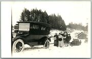Automobile Pulling The Sleds In Snow Antique Real Photo Postcard Rppc
