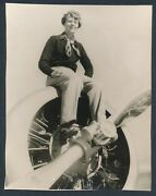 1937 Amelia Earhart Poses On Prop Wing Famous Vintage Photo