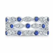 14k White Gold Blue Sapphire Diamond Multi Row Ring Band Cocktail Womens Natural
