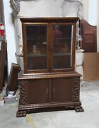 Carved Antique German Walnut China Display Cabinet With Claw Feet