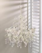 Antique Style Ivory Iron Hanging Tealight Candle Chandelier