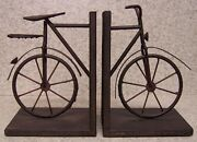 Bookends Medieval Industrial Revolution Antique Bicycle Metal Pair Book Ends New