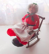 Rare Old Byers Choice Unsigned Bumpy Base Christmas Caroler Woman Rocking Chair