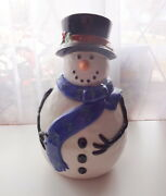 Vtg Whole Home Holiday Cookie Jar Snowman Blue Scarf Christmas Table
