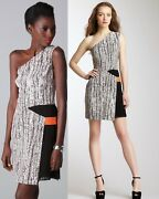 368 Sachin And Babi Isis One-shoulder Leather Trim Faux Wrap Snake Print Dress 10