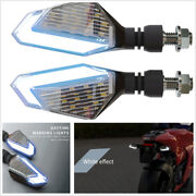 2 Pcs Motorcycle Scooter Led Daytime Lights White Turn Signal Lamps Yellow Dc12v