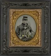Photo Civil War Confederate In Officer's Uniform With Sword