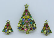 Vtg 1950s Signed Hollycraft Christmas Tree Crystal Brooch And Earrings 2 7/16