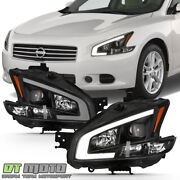 Black For 2009-2014 Maxima Square Projector Headlights W/drl Led Light Tube Sets