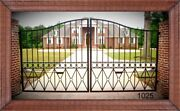 Wrought Iron Style Steel Driveway Gate 11' Or 12 Ft Wide Yard Home Security