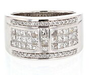 Solid 18k White Gold Genuine Diamond Engagement Band Ring Menand039s Jewelry Gift