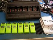 6 Motorola Ht1250 Uhf 450-512mhz W/wpln4197 Charger 128 Ch Mint Green Tested