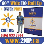 Luxury Hq 60 Trade Show Retractable Roll Up Banner Stand Pop Up Display + Print