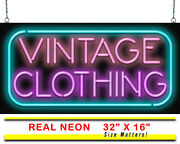 Vintage Clothing Neon Sign | Jantec | 32 X 16 | Thrift Store Used Antique Old