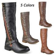 Women's Zip Leather Knee High Boots Riding Knight Winter Warm Buckle Rivet Shoes