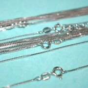 12 Pcs Assorted Lengths Lots Rhodium Plated Silver 1mm Box 015 Chain Necklaces