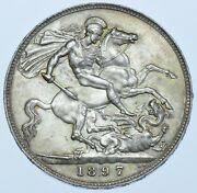 1897 Lxi Crown British Silver Coin From Victoria Unc