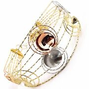 18k Yellow White Rose Gold Bangle Bracelet Worked Multi Wires Flowers Discs