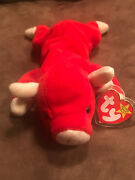 Ty Beanie Baby Andldquosnortandrdquo The Bull 1995 Plastic Protector Has Never Been Removed