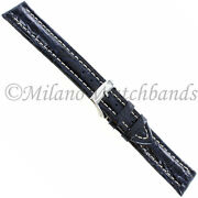 20mm Bros Navy Genuine Crocodile With White Stitching Padded Watch Band 2020