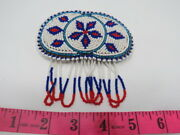 One Native American Beaded Hair Barrette, Leather Back, Metal Clasp