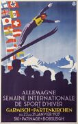 Old Poster Garmisch-partenkirchen Germany International Winter Sports Week 1937