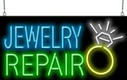 Jewelry Repair Neon Sign | Jantec | 32 X 16 | Pawn Shop Jewelers Silver Gold