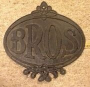 Vintage Rare Large 14.5 Old Cast Iron Bros Usa Sign Equipment Machinery Plaque