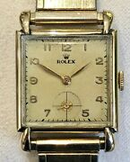 Vintage 1940's Mens Rolex 14k Gold And Steel Precision Manual Movement Model 4578