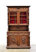 French Antique Carved Oak Hunt Buffet Cabinet