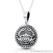 Cancer The Crab Zodiac Sign Animal Pendant Luck Necklace In .925 Sterling Silver