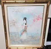 Mau Ling Chinese Girl With Fan Original Oil On Canvas Painting