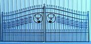 On Sale Inc Post Package Driveway Gate Steel - Iron 14and039 Wd Home Yard Security