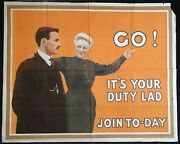Original Wwi Recruitment Poster Go It's Your Duty Lad Join To-day 1915