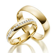 2 X 585 Yellow Gold Wedding Rings Full Wreath Solid Engagement Ring New