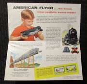 1958 American Flyer Trains And Accessories 37x17 Fold-out Catalog Fn+ 6.5 Gilbert