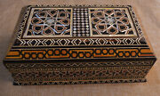 Moroccan Egyptian Handcrafted Natural Mother Of Pearl Inlaid Wood Jewelry Box