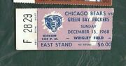 1968 12/15 Football Ticket Chicago Bears Green Bay Packers F289 Ray Nitschke Int