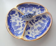 Early Nippon Fine Bone China Old Blue Willow 3 Section Seafood Dish Plate Rare