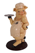 Pig Butler Life Size Statue Piggy Cook Holding Tray Restaurant Display Prop
