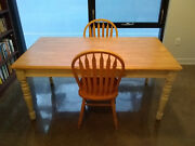 Crate And Barrel Style Farmhouse Table + 2 Chairs - Butcher Block, Shabby Chic